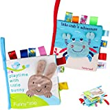 Baby Soft Book Cloth Book, Tinabless 2 Pack Nontoxic Fabric Baby Cloth Books