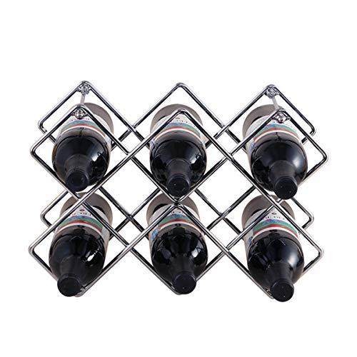 Botellero para 10 Botellas Acero Inoxidable Botellero de Vino Estable Ligero Fácil de Instalar Botellero Vino Se puede Colocar Horizontal o Verticalmente - Plata