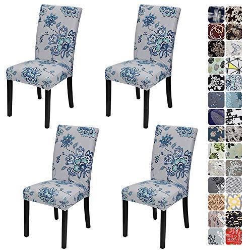 JOTOM Stuhlhussen Universal Stretch Stuhlbezug Elastische Moderne Stuhl Hussen Set Abnehmbare Weihnachten Dekoration Stuhlabdeckung für Esszimmer Party Hotel Restaurant Deko (Blau Blumen, 4er Set)