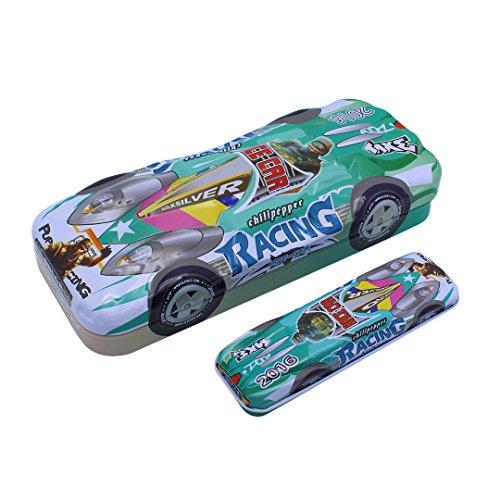 Multifitボーイズ大容量レース車&キュート動物Tinplate二重複合ペンケース one size