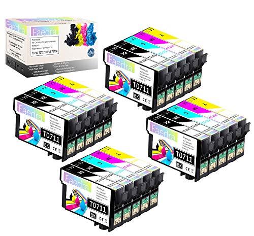 Faedra - Cartucho de tinta compatible con Epson T0711 T0712 T0713 T0714 para Stylus D78 D92 D120 DX400 DX4000 DX5000 DX5050 8*Schwarz 4*Cyan 4*Magenta 4*Gelb