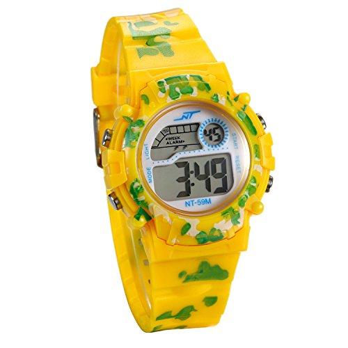 JewelryWe キッズ デジタル 腕時計 子供 女の子 男の子 スポーツ キッズウォッチ かわいい カレンダー アラーム 曜日 ストップウォッチ 子供の日 誕生日 プレゼント 黄色