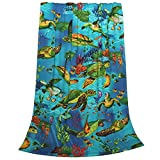 Sea Turtle Blanket Ocean Throw Bed Blankets Cozy Lightweight Soft Bedding for Sofa and Bed Office Travel 80x60 inches