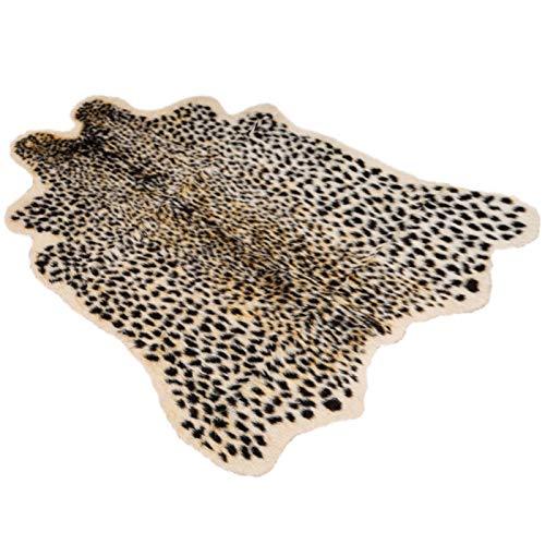 AmandaJ Teppich mit Leopardenmuster, Kunstfell-Teppich, Tierdruck, großer Leopard-Kunstfellimitat, weicher Teppich, Tieraufdruck, Kunstteppich für Heimdekoration