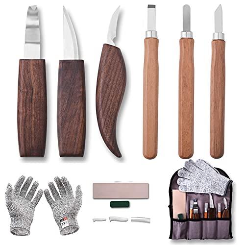 Juego de Cuchillos para Tallar Madera, Conjunto de Herramientas de Talla Juego de Herramientas de Tallado para Carpintería de Bricolaje y Tallar Oficios para Carpintero