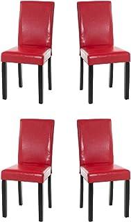CLP Set 4X Sillas Comedor INA en Cuero Sintético & Base en Negro I 4X Sillas de Salón-Comedor Acolchadas I Color:, Color:Rojo