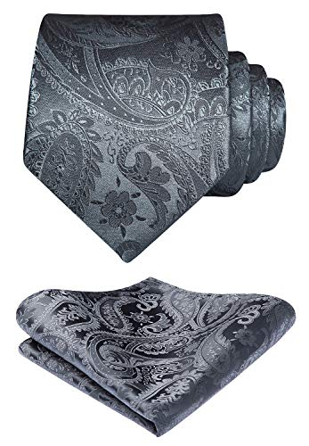 HISDERN hombres Solid Color Jacquard floral tejida corbata panuelo elegante corbata & Pocket Square Set