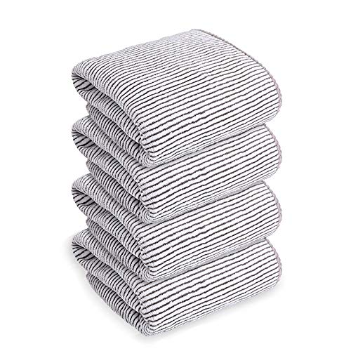 4 Pack, (16 x 30 inches)   100% Coral Bamboo Towel   Super Soft Highly Absorbent   Spa & Hotel Quality Towels (Grey White Stripe)
