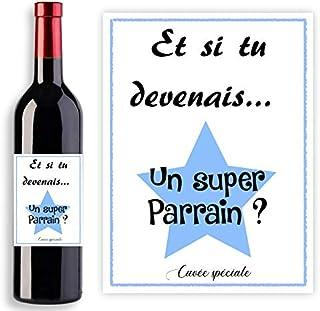 Étiquette pour bouteille vin ou de champagne - Demande originale futur Parrain - Et si tu devenais un super parrain - Cuvé...