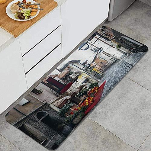 LISNIANY Tapis Cuisine Antidérapant Lavable en Machine,Italie City Street Ruelle pavée pittoresque à Aoste,Tapis de Bain Paillasson Tapis de Sol Cuisine