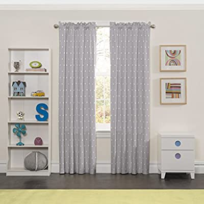 "ECLIPSE Super Star Thermal Insulated Single Panel Rod Pocket Room Darkening Privacy Curtains for Nursery, 42"" x 63"", Light Grey"