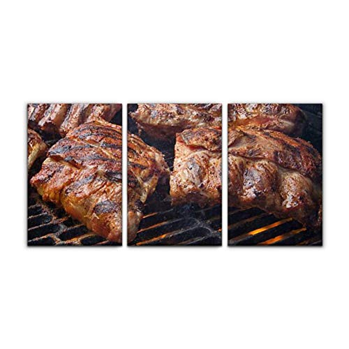 Home Decoration Paintings 3 Panel barbecued pork baby back ribs on fiery charcoal grill barbecues and Wall Art Framework Canvas Prints Artwork for Living Room Ready to Hang Framed Decorative