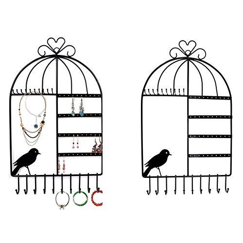 Itian Birdcage Titular en Forma de Joyas, Montaje en Pared Organizador de la Joyería Colgante Pendiente/Collar de Exhibición de la Joyería Soporte de Pie (Negro)