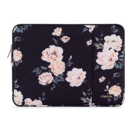 MOSISO Laptop Sleeve Compatible with 13-13.3 inch MacBook Pro, MacBook Air, Notebook Computer, Polyester Vertical Camellia Bag with Pocket