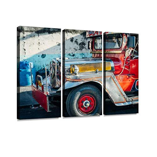 jeepney in Manila, Philippines Retro Taxis and Pictures Print On Canvas Wall Artwork Modern Photography Home Decor Unique Pattern Stretched and Framed 3 Piece