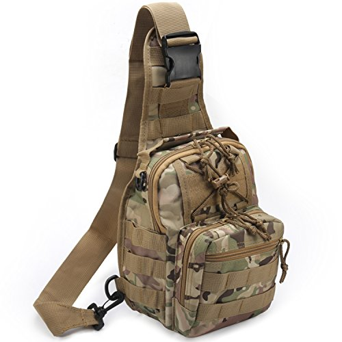 Tactical Shoulder Bag,1000D Outdoor Military Molle Sling Backpack Sport Chest Pack Daypack Bags for Camping, Hiking, Trekking, Rover Sling (CP)