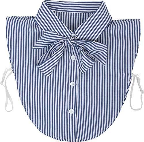 styleBREAKER Damen Blusenkragen Einsatz mit Knopfleiste und Schleife, Kragen für Blusen und Pullover, Schluppenbluse 08020003, Farbe:Navy-Weiß