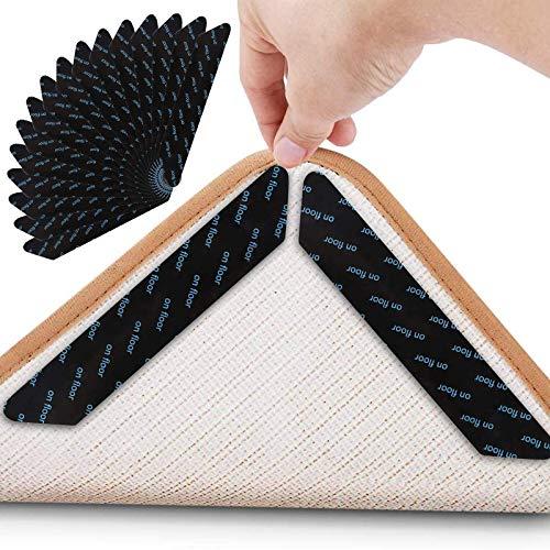 Teppichgreifer Antirutschmatte, Antirutschmatte für Teppich, 16 Stück Antirutschmatte für Teppich, Rug Grippers Rutschfester, Washable Wiederverwendbar Teppich Aufkleber Starke Klebrigkeit,Schwarz