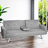 TNAIVE Convertible Futon Sofa, Modern Metal Legs and 2 Cup Holders Fold Up Recliner Sleeper Daybed for Living Room(Gray)