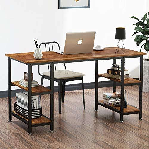 YOLEO Schreibtisch Computertisch Bürotisch Eckschreibtisch Gaming Tisch PC mit 4 Regalfächer Dunkelbraun 120 x 48 x 76CM