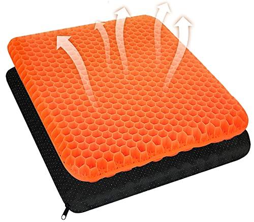 Cojín de gel para asiento, doble capa, grueso, con funda de tela antideslizante, transpirable, para silla de oficina, silla de cocina, silla de ruedas, coche (naranja)