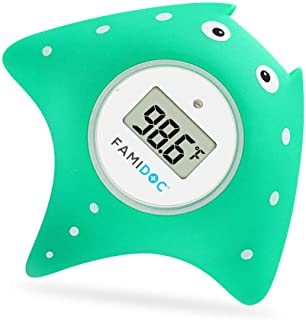 Baby Bath Thermometer with Room Thermometer - Famidoc FDTH-V0-22 NEW Upgraded Sensor Technology for Baby Health Bath Tub Thermometer Floating Toy Thermometer (Blue)