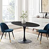 Modway Lippa Oval Artificial Marble 60' Dining Table Black