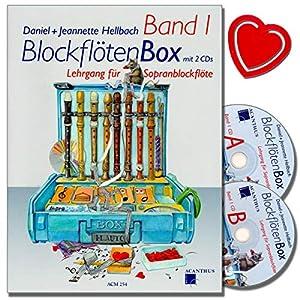 Blockflötenbox Band 1 mit 2 CDs – Sopranblockflötenlehrgang für Kinder von Daniel Hellbach – Überarbeitete und verbesserte Neuauflage – mit herzförmiger Notenklammer