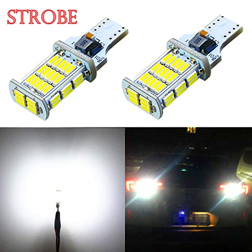 Alla Lighting 2600lm 912 921 LED Strobe Bulbs Xtreme Super Bright 4014 48-SMD W16W T10 T15 921 Strobe Flashing Backup Reverse Brake Stop Light, 6000K Xenon White