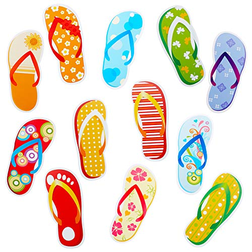 Flip-Flop Accents Colorful Flip-Flop Cutouts Bulletin Board Cutouts Wall Decoration for School Playroom Baby Nursery Kids Bedroom (60 Pieces)