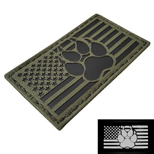 IR OD Green USA Flag K9 Dog Handler Paw K-9 Infrared Olive Drab Tactical Morale Fastener Patch