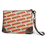 GLGFashion Cartera de embrague Hot Hotdogs Leather Wristlet Clutch Purses Bag Crossbody Clutch Wallet Handbags For Women