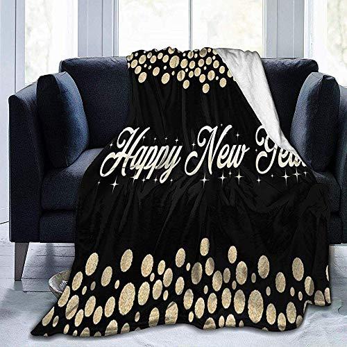 Frohes Neues Jahr Dot Sherpa Blanket Bequeme Premium Flanell Fleecedecke Bequeme Wärmedecken Durable Warm Sofa Blanket, 102X127 cm