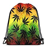 Yuanmeiju Geometric Rasta Weeds 3D Print Drawstring Backpack Rucksack Shoulder Bags Bolsa de Gimnasio For Adult 17'X14'