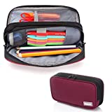 Vaschy Federmäppchen mit Doppelten Reißverschluss Große Kapazität Mäppchen Bleistift Tasche für Büro Schule Schreibwaren für Studenten -Burgund