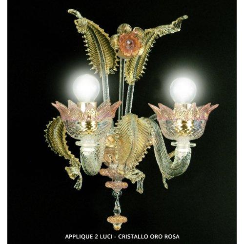 Muranese applique 2 luci cristallo oro rosa