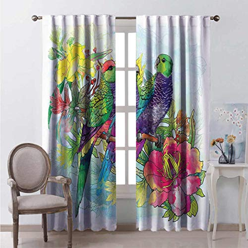 99% blackout curtains Flowers Parrots Love For bedroom kindergarten living room W96 x L96 Inch