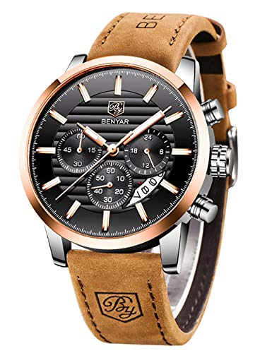 BENYAR Chronograph Waterproof Watches Business and Sport Design Brown Leather Band Strap Wrist Watch for Men (L Rose Gold White B)