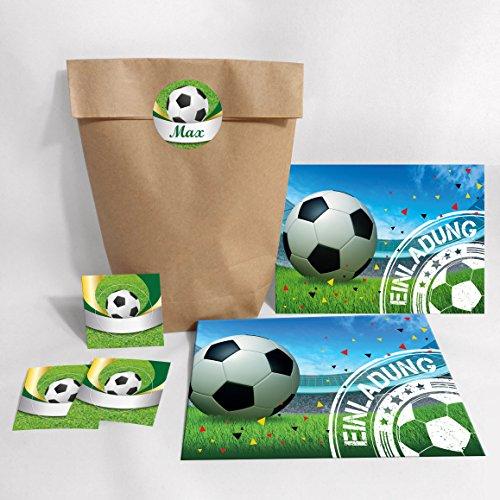 12-er Set Einladungskarten, Umschläge, Tüten, Aufkleber zum Kindergeburtstag für Junge Fussball Fußball bunte Einladungen (12 Karten + 12 Umschläge + 12 Party-Tüten (Kreuzbodenbeutel) + 12 Aufkleber)