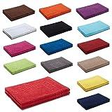 2er Packung Duschvorleger Badvorleger Badematte 50 x 70 cm 100% Baumwolle 700 g/m² , Farbe: Rot