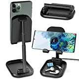 SUPERDANNY Wireless Phone Charging Stand, Adjustable & Rotatable 10W Max Fast Charger Dock, Foldable Holder for Live Streaming/Video Recording, Compatible with iPhone/Samsung Galaxy/Pixel, Black