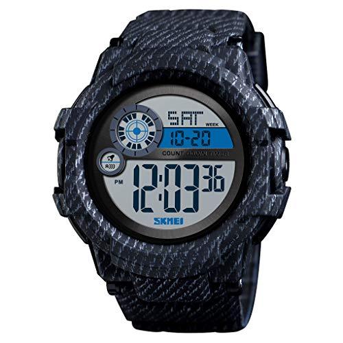 TONSHEN Męski zegarek sportowy 50 m wodoodporny podwójny czas na zewnątrz wojskowe sportowe zegarki elektroniczne alarm odliczania pasek Cowboy