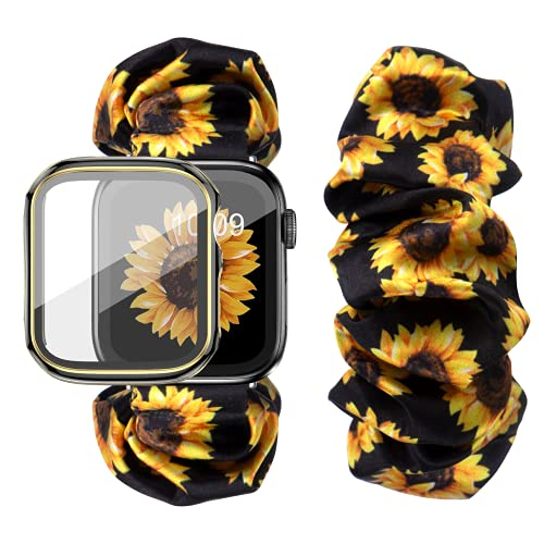 DABAOZA Compatible for Apple Watch Band 38mm with Case, Women Soft Scrunchie Elastic Sunflower Printing Replacement Wristband for iWatch Band Series 3/2/1 (Sunflower, 38MM)