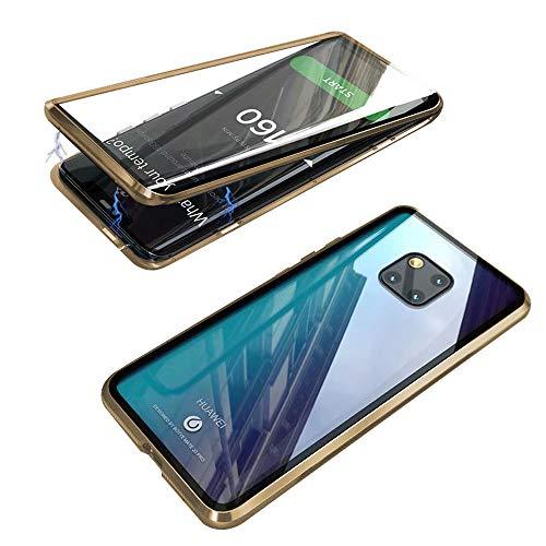 Jonwelsy Hülle für Huawei Mate 20 Pro, Magnetische Adsorption Metall Stoßstange Flip Cover mit 360 Grad Schutz Doppelte Seiten Transparent Gehärtetes Glas Handyhülle für Mate 20 Pro
