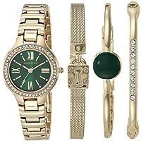 Anne Klein Women's Swarovski Crystal Accented Watch & Bracelet Set (Gold / Green)