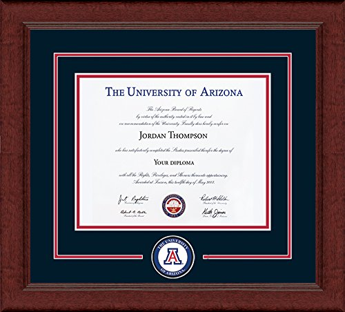 Church Hill Classics University of Arizona Diploma Frame - Circle Logo with Navy & Red Mats - 8.5' h x 11' w Diploma Size - Officially Licensed