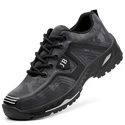 Zapatos de Seguridad para Hombre Zapatillas Zapatos de Mujer Seguridad de Acero Ligeras Calzado de Trabajo para Comodas Unisex Zapatos de Industria y Construcción Gris 43