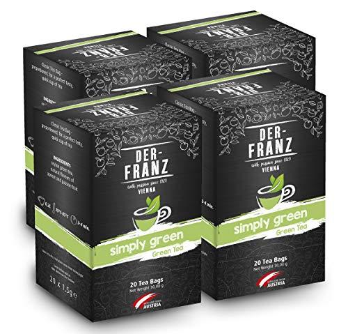 Der-Franz - Te verde \Simply Green\ con sabor natural en bolsitas de te clasicas, 4 paquetes (a 20 bolsitas x 1,5 g cada uno)