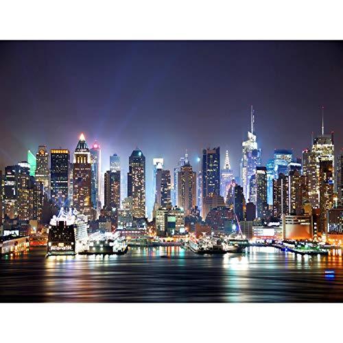 Fototapete New York skyline 352 x 250 cm Vlies Tapeten Wandtapete XXL Moderne Wanddeko Wohnzimmer Schlafzimmer Büro Flur Bunt 9038011a