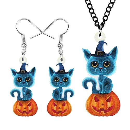 YGDH Acrylic Halloween Pumpkin Lantern Cat Jewelry Sets Cute Pet Animal Earrings Necklace For Women Kid Fashion Gift (Color : Multicolor)